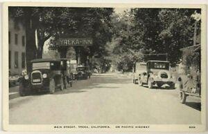 1910s 1920s CA Postcard Main Street View Yreka California Pacific HWY Cars Inn