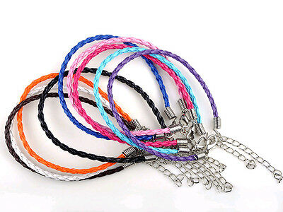 Wholesale 10/50/100pcs Lots Braided Rope Charm Leather Bracelet Many Colors Pick