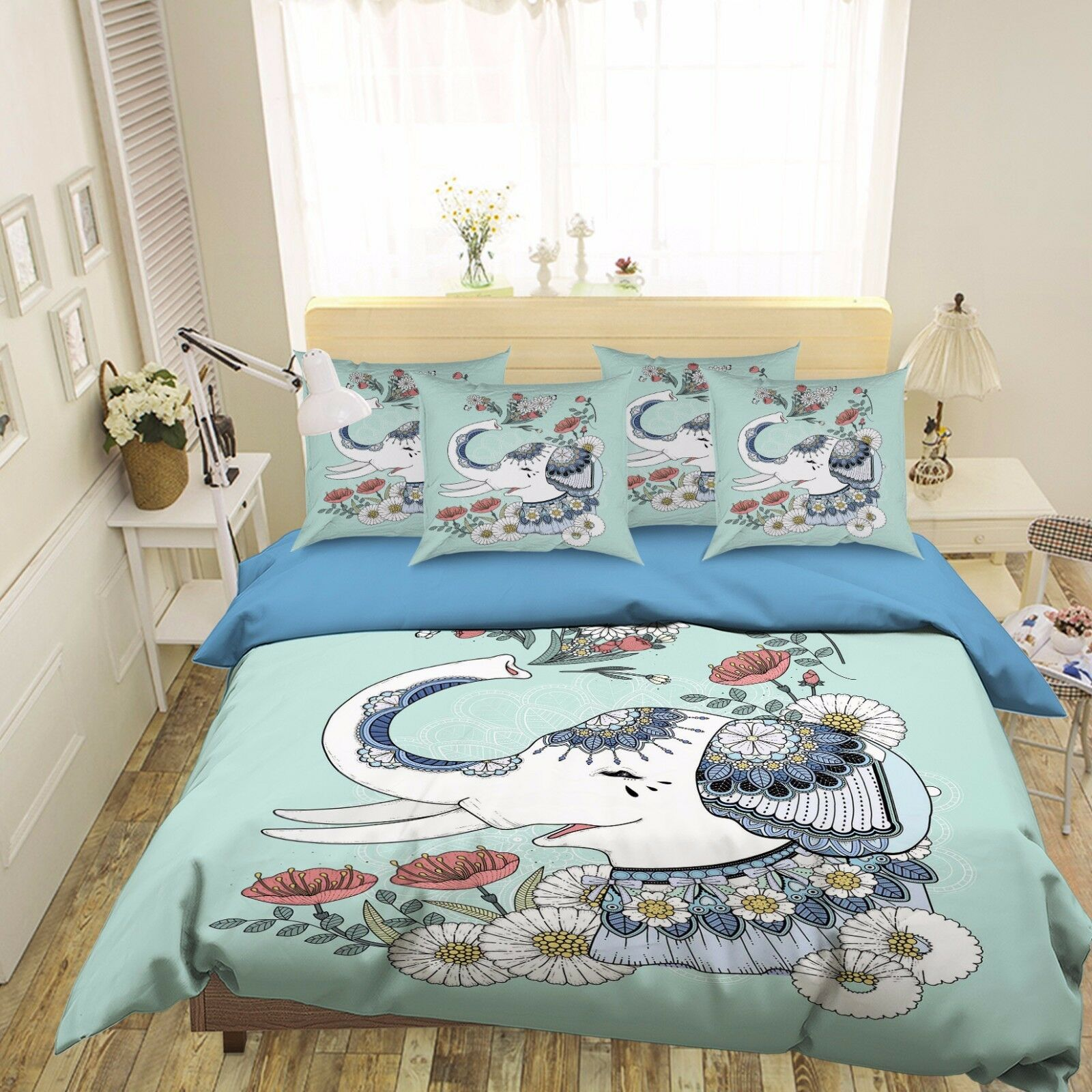 3D Elephant Cartoon 532 Bed Pillowcases Quilt Duvet Cover Set Single Queen CA