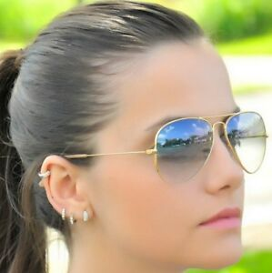 RAY-BAN-RB3025-58-14-AVIATOR-Sunglasses-GRAY-GRADIENT-Lens-GOLD-Frame