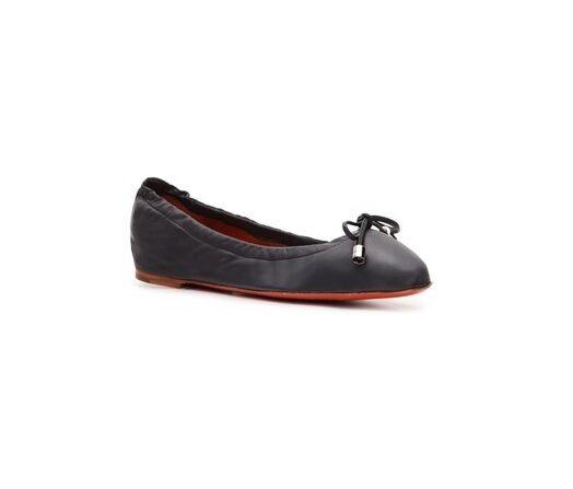 SANTONI Navy Pelle Bow Tie Ballet (Ballerina) Flat, Size 7, EU 37, NIB