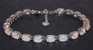 Silver-Fire-Opal-Oval-Cut-24-02ct-Tennis-Bracelet-925-Free-Gift-Box