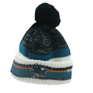 San-Jose-Sharks-NHL-Reebok-Youth-Boys-8-20-Cuffed-Pom-Knit-Winter-Beanie-Hat