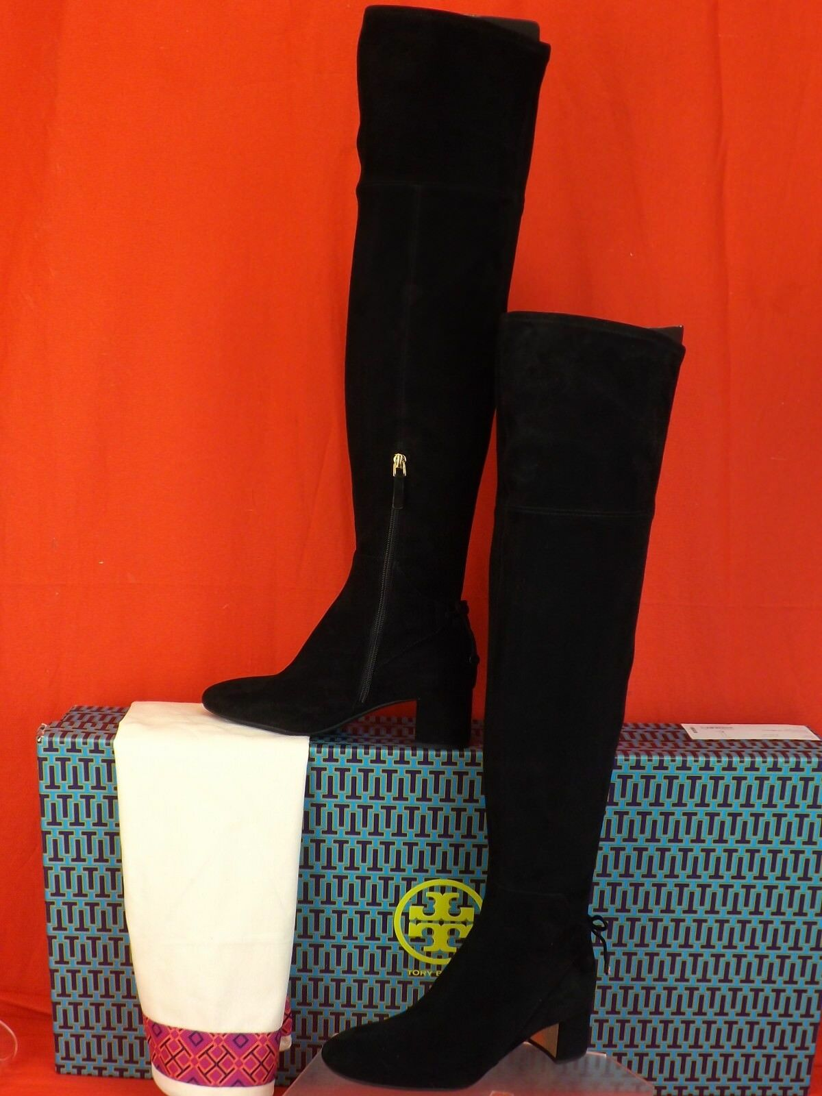 TORY BURCH LAILA 45 BLACK SUEDE BOW gold REVA ZIP OVER THE KNEE BOOTS 8.5  598