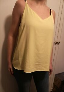 Size 16 Dorothy Perkins lemon yellow strappy top RRP £14.00 vest cami blouse