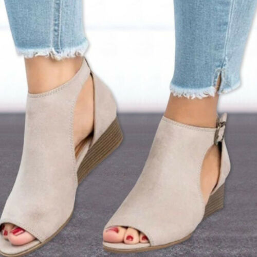 Womens Sandals Low Wedge Mid Heels Cut Out T-strap Ankle Strap Buckle Plus Size