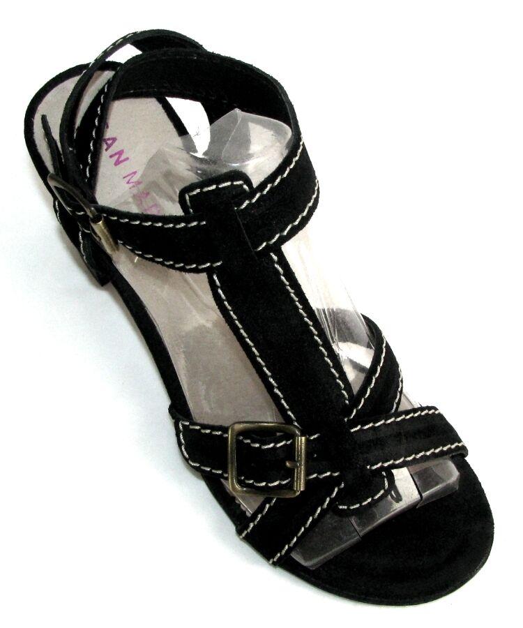 SAN MARINA - Sandali Salome AURA tacchi 8 cm in pelle camoscio nero 38 SCATOLA