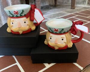 SUR-LA-TABLE-Holiday-Christmas-NUTCRACKER-SET-OF-2-14-Oz-Size-Coffe-Tea-Mugs