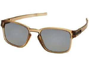 f20934e61f346 NEW Oakley Mens Latch Square Sunglasses Matte Sepia  Grey Polarized ...