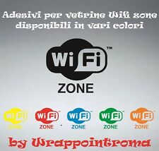 N°2 adesivo wi-fi 2 adesivi zone wifi access zone sticker vetrine muri 15x10 cm