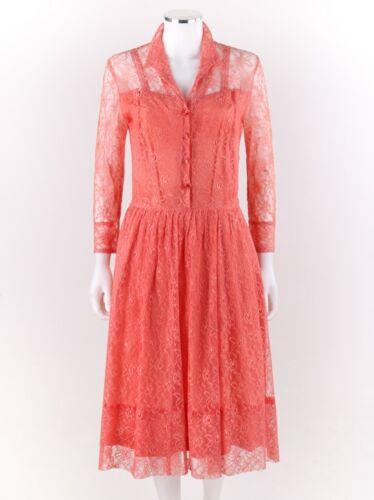 Vtg COUTURE c.1950's Salmon Pink Floral Lace Long