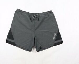 Vintage-90s-Umbro-Mens-Large-Striped-Spell-Out-Nylon-Soccer-Shorts-Black-Silver
