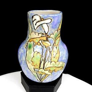 """LISA G SIGNED STUDIO ART POTTERY CALLA LILY MOTTLED 5 1/2"""" VASE 2007"""