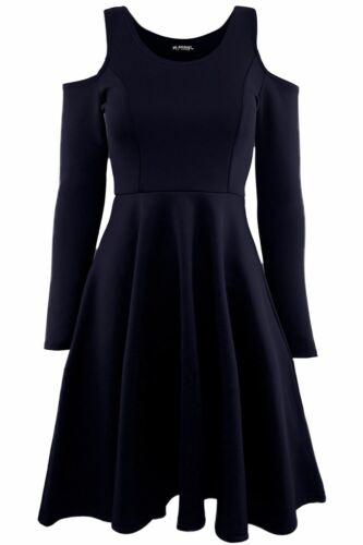 Femme Froid Épaule Découpe Femme Casual Plissé Évasé Swing Patineuse Mini Robe