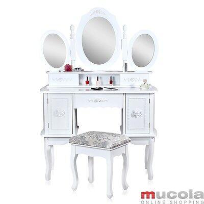 146CM Schminktisch in weiß inkl. 3 Spiegel Frisierkommode Kosmetik Tisch Spiegel