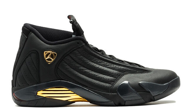 2018 Nike Air Jordan 14 XIV DMP Black Gold Size 10.5. 897563-900