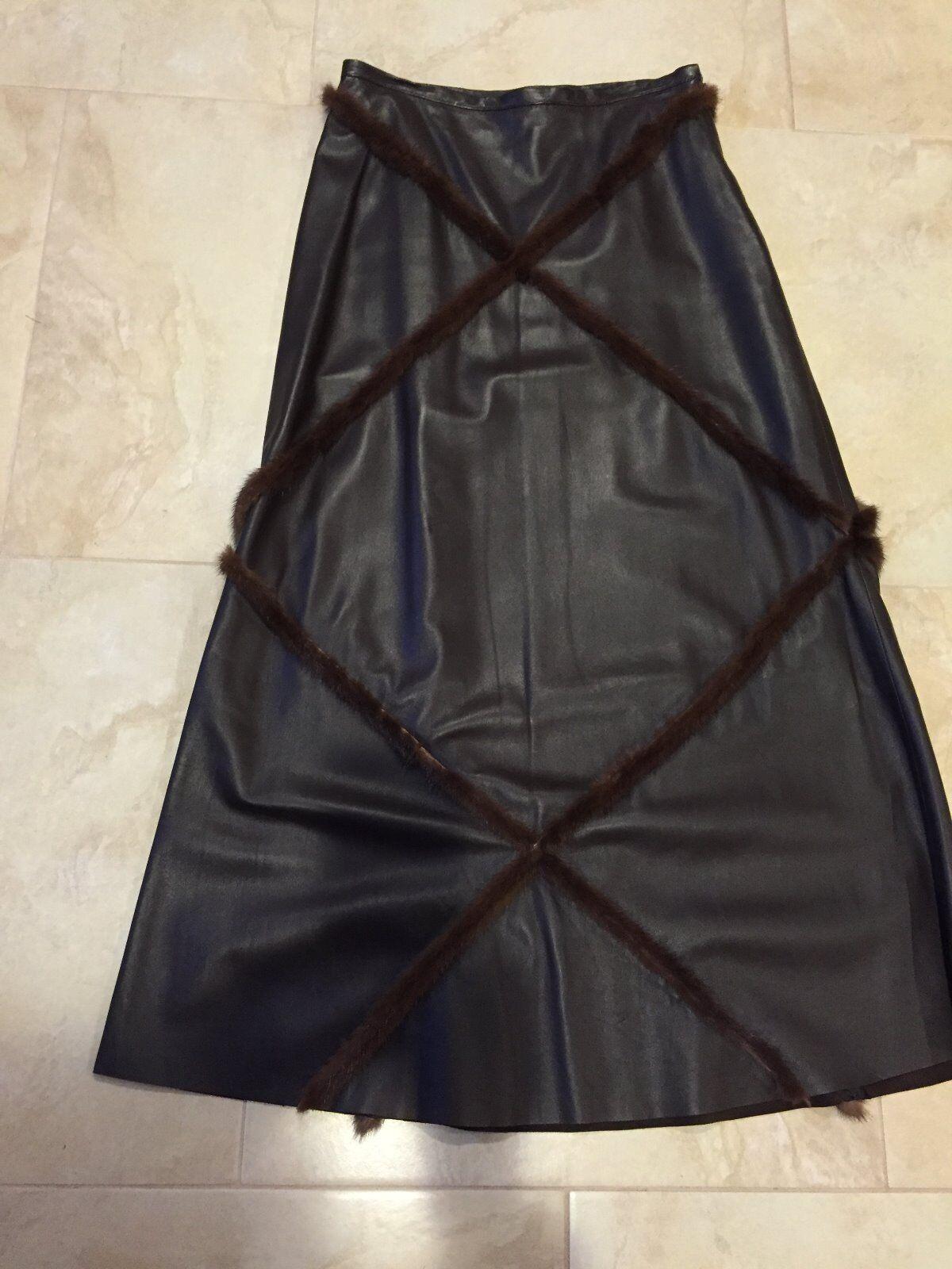 GIULIANA TESO Leather Skirt with Mink