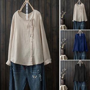 ZANZEA-Femme-Loisir-Ample-Cravate-Manches-longues-Bouton-Tops-Hauts-Shirt-Plus