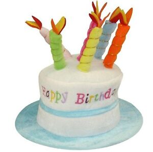 Image Is Loading Happy Birthday Hat Cake With Mock Candles