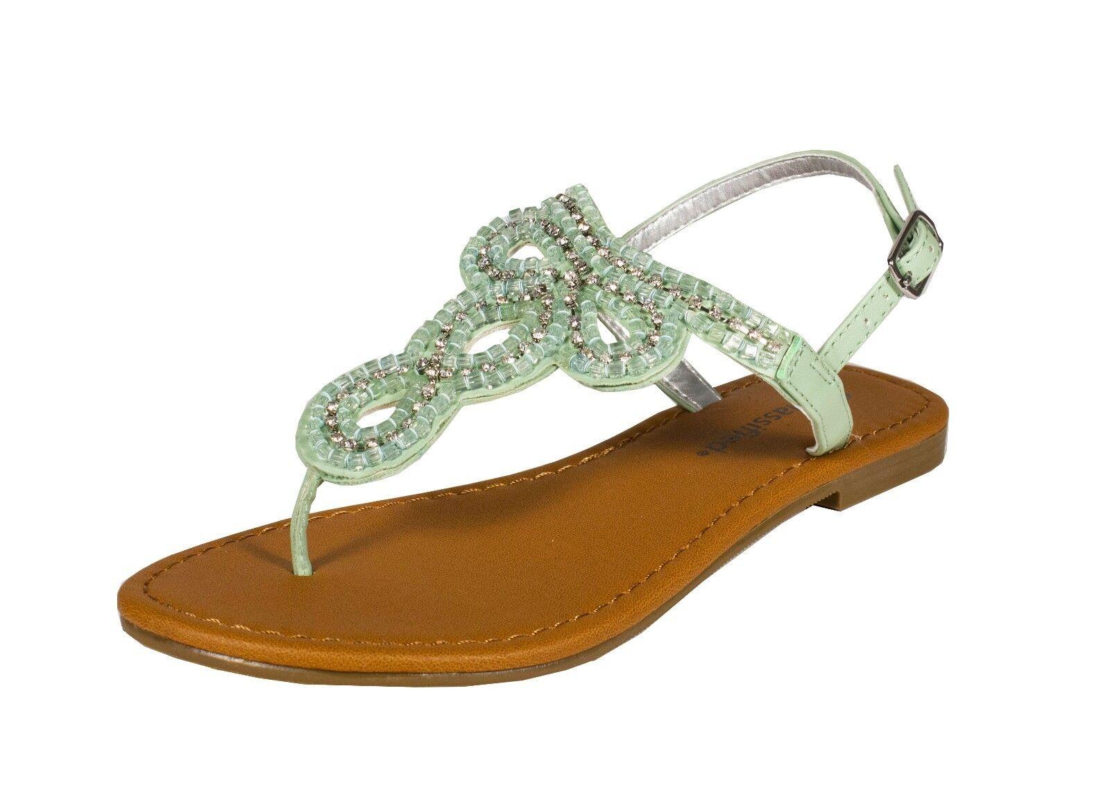 Jayna!City Classified Thong Beaded Chain Slingback Flat Thong Classified Sandal Mint Leatherette ccab0e