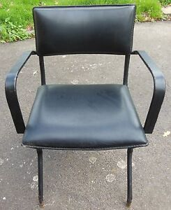 jacques adnet tr s rare fauteuil moderniste en cuir piqure sellier ebay. Black Bedroom Furniture Sets. Home Design Ideas