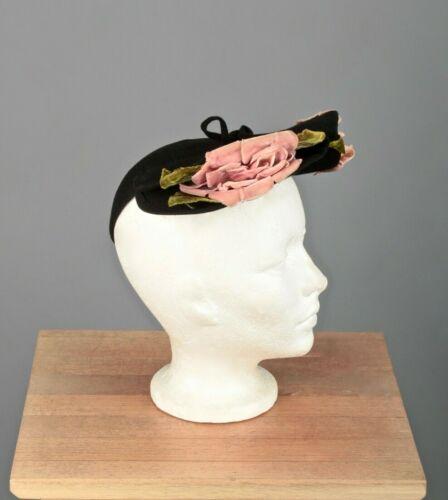VTG Women's 40s Black Felt Calot Style Hat / Cap 1