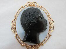 Antique 19th C. 14K Gold Blackamoor Victorian Banded Agate Cameo Brooch Pendant