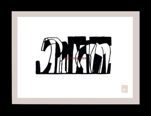Pferd handsigniert Graphik Linolschnitt Linoldruck Pferde