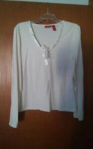 015-Womens-Long-Sleeve-Gloria-Vanderbilt-XL-Cotton-Spandex-Top-Shirt