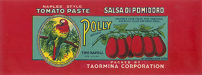 TIN CAN LABEL VINTAGE POLLY DONNA TEXAS PARROT ITALIAN 1930S ORIGINAL NAPLES 1