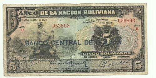FINE CONDITION 3RW 16JUN BOLIVIA 5 BOLIVIANOS 11-5-1911