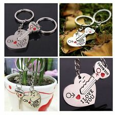 "Chain Key Ring ""Key To My Heart"" Couples Keyring I LOVE YOU Metal Heart+Arrow"