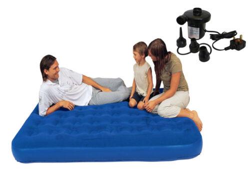 Gonflable simple//double floqué air lit camping relax matelas matelas w pompe