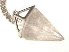 QUARTZ PENDULUM NECKLACE moon stone crystal opalescent point charm pendant 1G