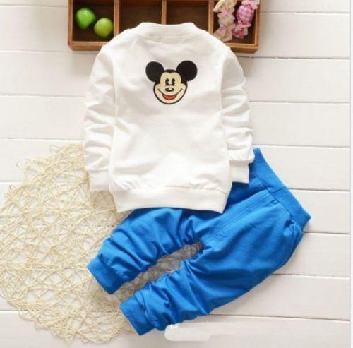 2pcs toddler baby boys girls mickey cartoon tops+pants casual sport clothes sets