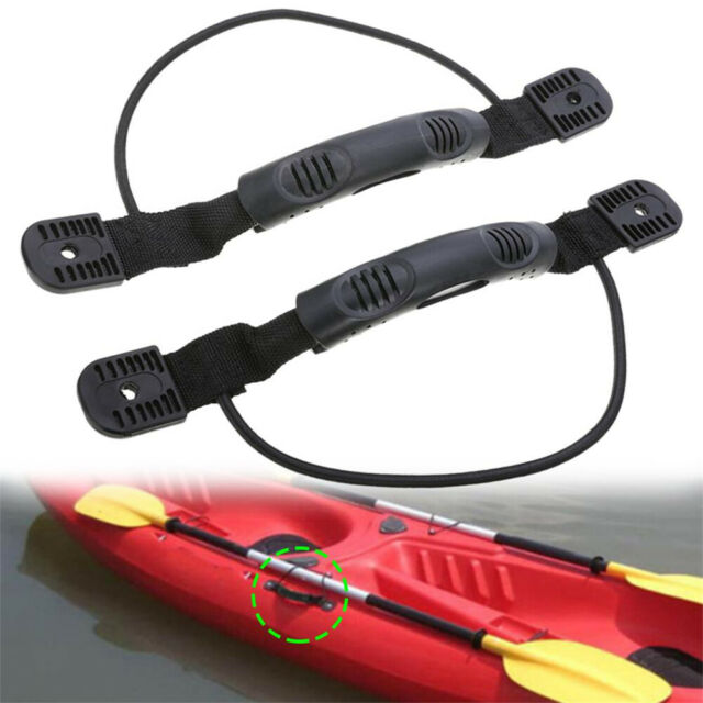 1Pair Kayak Canoe Boat Side Mount Handle with Bungee Cord Accessories Black
