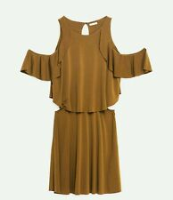 ZARA WOMEN NEW 2016 FRILLY OFF THE SHOUDER DRESS KHAKI SOLD OUT SIZE S 1165/055