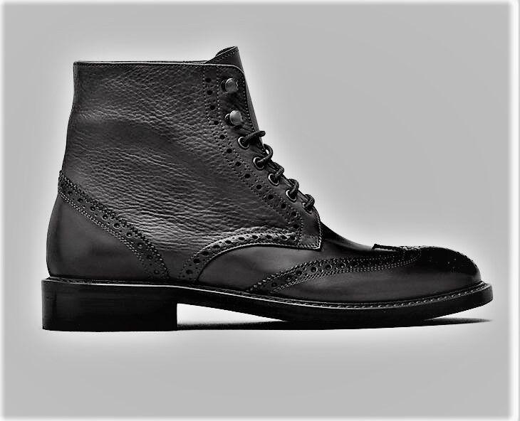 Italia Kenneth Cole Fix-Ture punta del ala botas Negro gris Tamaño 8 Med