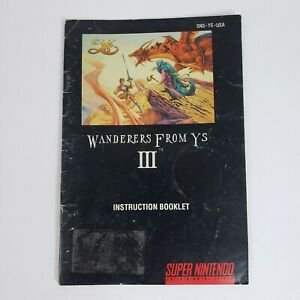 Wanderers From YS III 3 (Super Nintendo, SNES) MANUAL Only Good - FAST SHIP