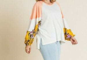New-Umgee-Top-1X-Color-Block-Floral-Raglan-Puff-Sleeve-Boho-Peasant-Plus-Size