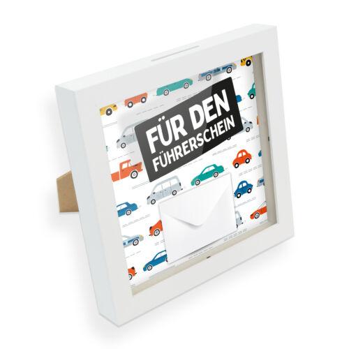 itenga Geldgeschenk Bilderrahmen Spardose Führerschein Plexiglas Umschlag Karte