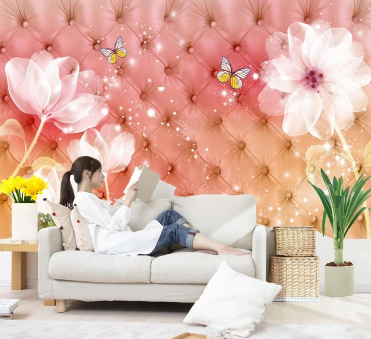 3D Anime Petal 4010 Wallpaper Murals Wall Print Wallpaper Mural AJ WALL UK Lemon