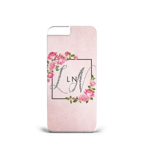 De Lujo Personalizado Nombre Oro Brillo Rosa Flores para ella d85 Teléfono Estuche Cubierta