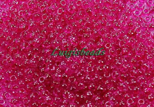 11//0 Round Toho Japanese Glass Seed Beads #350-Crystal//Fuchsia Lined 10g