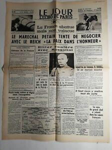 N278-La-Une-Du-Journal-Le-jour-L-039-echo-de-Paris-18-juin-1940-marechal-Petain