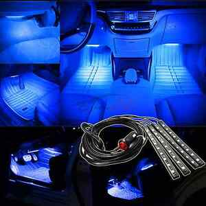 4x ultra blue 5050 car led strip interior underdash floor atmosphere light kit ebay. Black Bedroom Furniture Sets. Home Design Ideas
