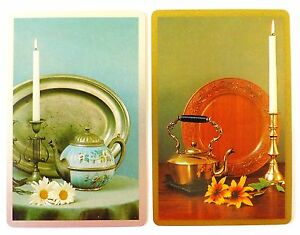 PAIR-VINTAGE-SWAP-CARDS-ANTIQUE-TEAPOTS-amp-TABLEWARE-IN-COPPER-amp-PEWTER-MINT