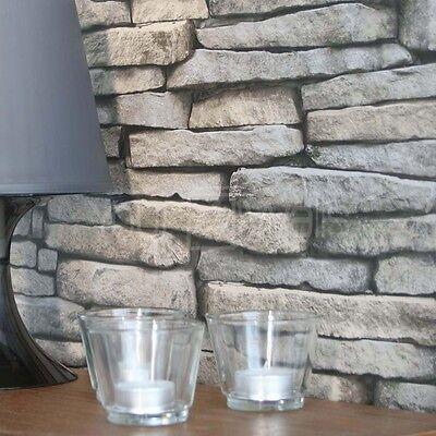 FREE P&P Keswick Slate Wallpaper Stone Brick Wallpaper Realistic Natural Colour