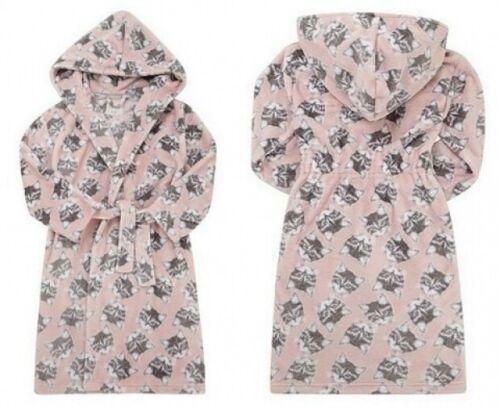 GIRLS FLEECE PINK HOODED KITTEN DRESSING GOWN NIGHT ROBE SLEEPWEAR 3-4 YEARS
