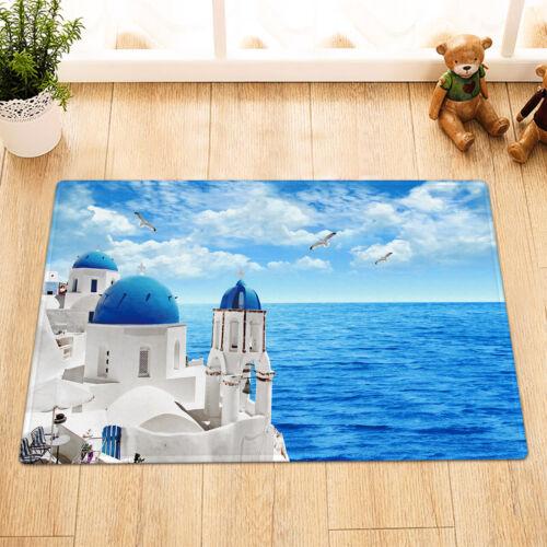 Santorini Aegean Sea Landscape Seagull Fabric Shower Curtain Set Bathroom Decor